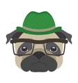Portrait of pug dog with glasses and hat in flat vector image vector image