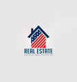 real estate american house red and blue logo vector image vector image