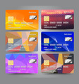 realistic detailed credit cards set with colorful vector image vector image
