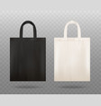 realistic mockup a black and white fabric tote vector image vector image