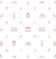 retro icons pattern seamless white background vector image vector image