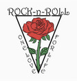 rock and roll print with rose vector image vector image