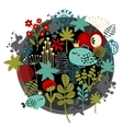 Round label pattern with flora and fish vector image vector image