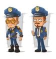 set cartoon cops in blue uniform vector image vector image