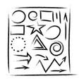 set hand drawn grunge design elements frames vector image