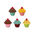 Set of five different cupcakes with cherry on vector image vector image