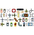 set transportation vehicle aerial view vector image vector image