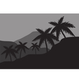 Silhouettes of palm on the hills vector image vector image