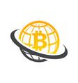 swoosh globe bitcoin logo icon vector image vector image