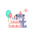 Teddy Bear With Party Attributes Girly Stylized vector image vector image