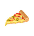 triangle slice of classic pizza with cheese vector image
