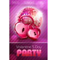 Valentine disco poster with hearts vector image