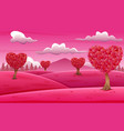 valentine trees landscape with heart shaped leaves vector image vector image