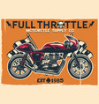 vintage cafe racer motorcycle poster vector image vector image