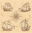 vintage ships collection antique travel boat set vector image vector image