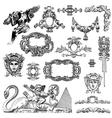 vintage sketch calligraphic drawing of heraldic vector image vector image