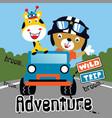 wild trip adventure animal cartoon vector image