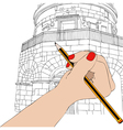 Woman draws the Mausoleum of Theodoric in Ravenna vector image vector image