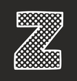 Z alphabet letter with white polka dots on black vector image vector image