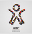 large group of people in the happy man shape vector image