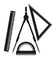 ruler compasses goniometer sign vector image