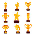 golden awards set trophy cups and awards in shape vector image