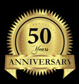 50 years anniversary gold seal logo design vector image vector image