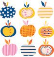 apples icon set cute abstract vector image