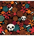 Big skulls and flowers seamless background vector image vector image