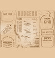 burger placemat place for text vector image vector image