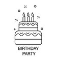 cake with candles birthday party celebration vector image