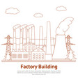 cartoon factory building industry business vector image vector image
