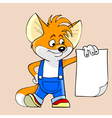 cartoon fox holding a blank sheet of paper vector image vector image