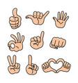 cartoon hands set different gestures vector image vector image