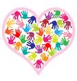 children hand prints in the heart vector image vector image