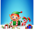 christmas background with little elf laying on the vector image vector image