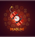 deadline concept with realistic detailed 3d red vector image vector image