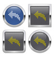 dotted icon left curved arrow on glossy button vector image vector image