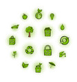eco comics green icons set vector image