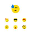 flat icon gesture set of pleasant wonder happy vector image vector image