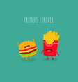 fries cheeseburger friends forever vector image vector image