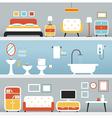 Furniture in Bedroom Bathroom Living Room vector image