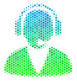 halftone blue-green support operator icon vector image vector image