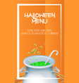 halloween menu template with realistic halloween vector image