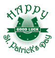 horseshoe good luck happy st patricks day vector image vector image