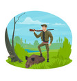 hunter with rifle and trophy boar cartoon icon vector image vector image