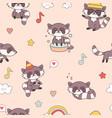 kawaii raccoon seamless pattern cute animals vector image vector image
