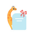 little giraffe holding empty banner with red bow vector image vector image