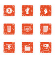loose change icons set grunge style vector image vector image