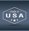 made in usa hexagonal white vintage label vector image vector image
